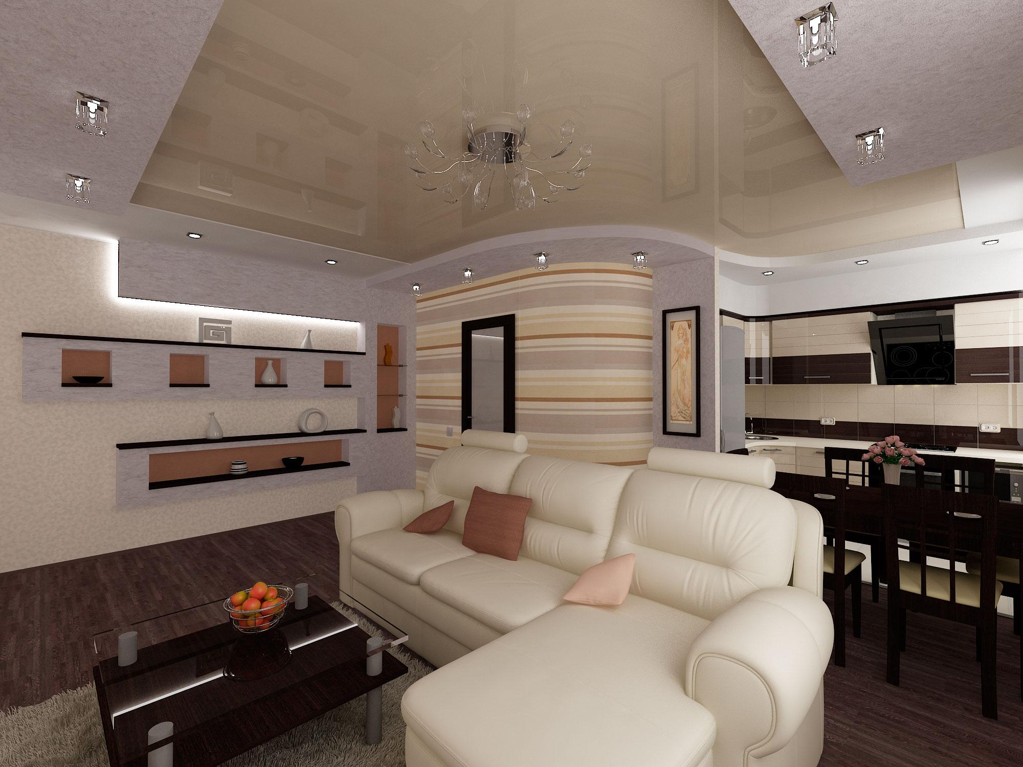 Дизайн кухни-гостиной фото 25 кв.м